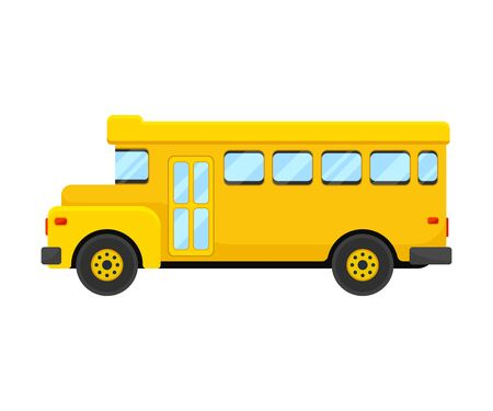 Classic Yellow School Bus Of Left Side Projection Vector Illustration 向量圖像