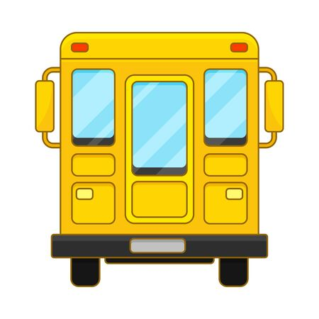 Yellow School Bus From Back View cartoon Vector Illustration Çizim