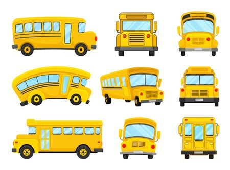 The Set Of Vector Illustrations Of Nine Bright Yellow School Buses Çizim
