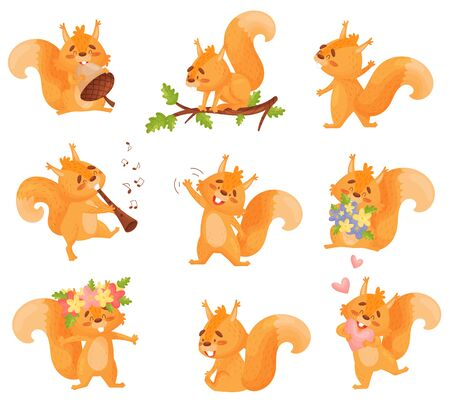 Vector Set Of Illustrations Of Funny Orange Squirrel With Different Actions And Emotions On White Background. 版權商用圖片 - 130786699
