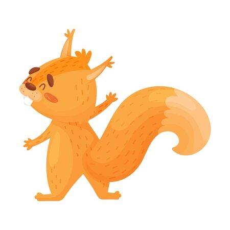 Cute Little Red Squirrel Is Hugging, Vector Illustration.