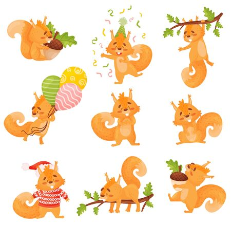 Set Of Cute Red Squirrel In Different Actions. Isolated cartoon Vector Illustrations On White Background.