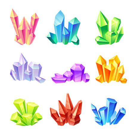 Set of multi-colored crystals. Vector illustration on a white background.