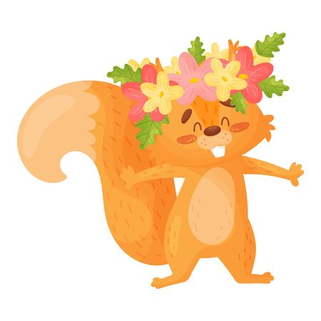 Cartoon Squirrel In A Wreath Of Flowers. Vector Illustration.