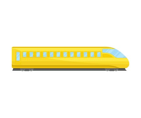 Bullet Train Of Yellow Color Flat Vector Illustration