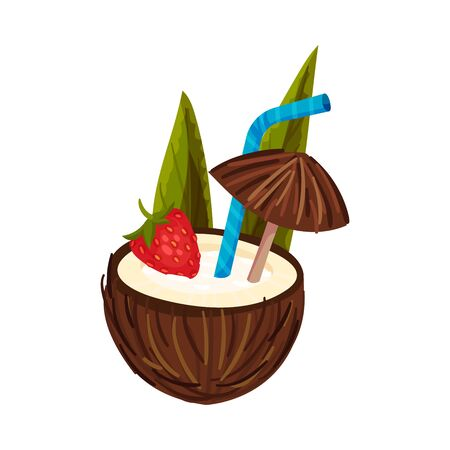 Coconut Cocktail With Strawberries And Brown Umbrella Vector Illustration Isolated On White Background Иллюстрация