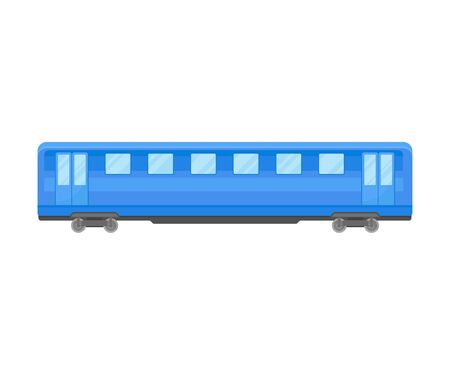 Blue Coach Of Suburban Electrical Train Flat Vector Illustration Ilustração