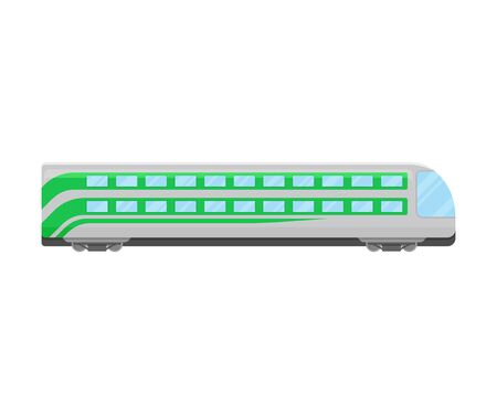 Grey And Green Double Decker Locomotive Flat Vector Illustration 向量圖像