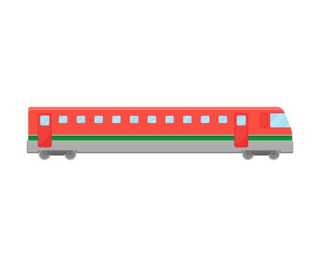 Red Suburban Electric Train Flat Vector Illustration