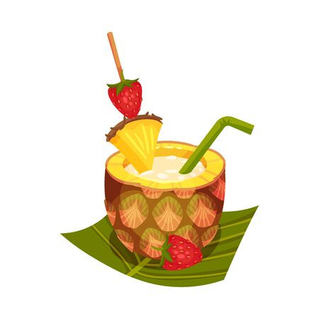 Vector Illustration Of Delicious Smoothie With Straw, Strawberry And Slice Of Pineapple On A Stick On Palm Leaf