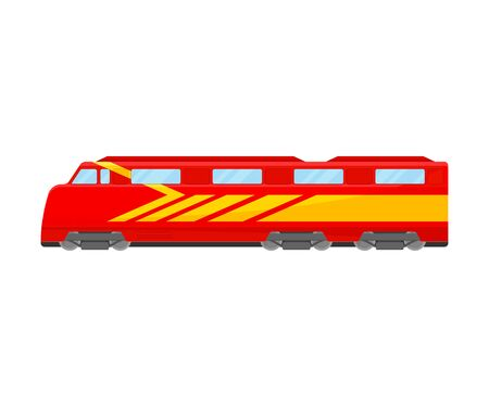 Bright Yellow And Red Bullet Train Flat Vector Illustration 向量圖像