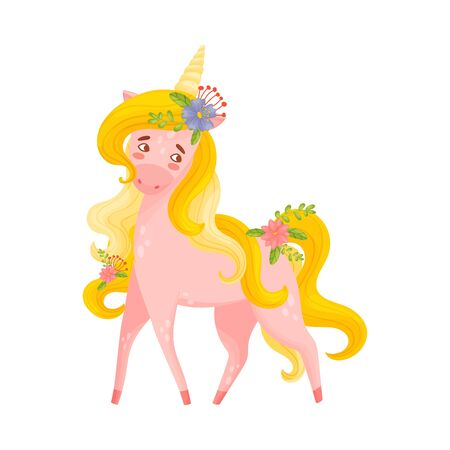 Pink Unicorn Female With Flowers In Hair Vector Illustration 일러스트