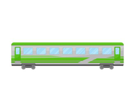 Grey And Green Coach Of Suburban Electrical Train Flat Vector Illustration Ilustração