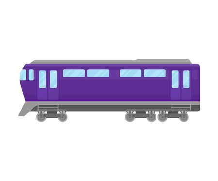 Violet Passenger Rail Coach Flat Vector Illustration