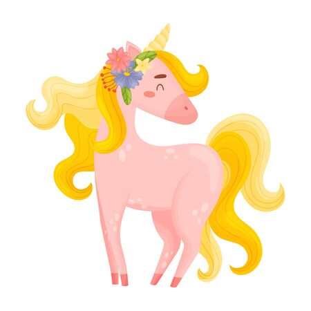 Flirty Light Pink Unicorn With Pretty Flowers In Hair cartoon Vector Illustration Isolated On White Background