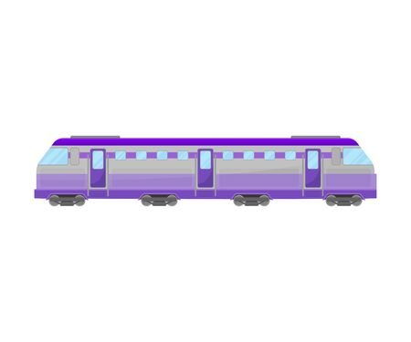 Lilac Reversible Passenger Locomotive With Windows And Doors Flat Vector Illustration