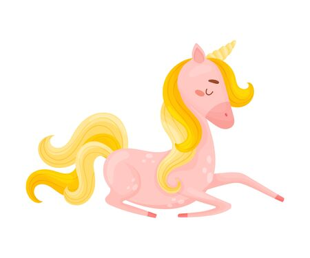 Lying Single Pink Unicorn With Golden Mane And Tail