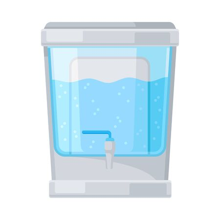 Portable storage tank for drinking water with filter inside, little tap. Pur grey and blue colors. Flat vector Illustration, isolated on white background.