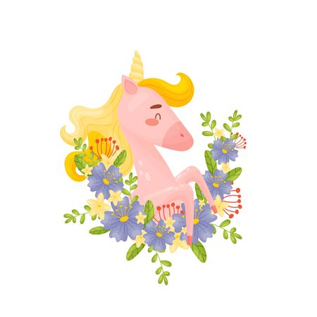 Pretty Pink Unicorn Getting Out From Blue Flowers Garland Vector Illustration