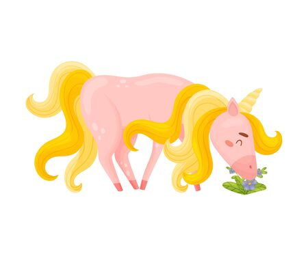 Light Pink Unicorn With Red Hooves Pasturing In The Grass Vector Illustration