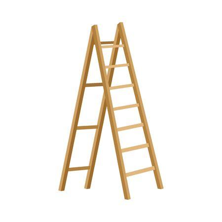 Wooden Step Folding Ladder Vector Illustration On White Background