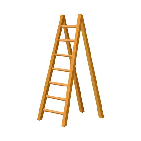 Solid Wooden Step Ladder Isolated Vector Illustration Vetores
