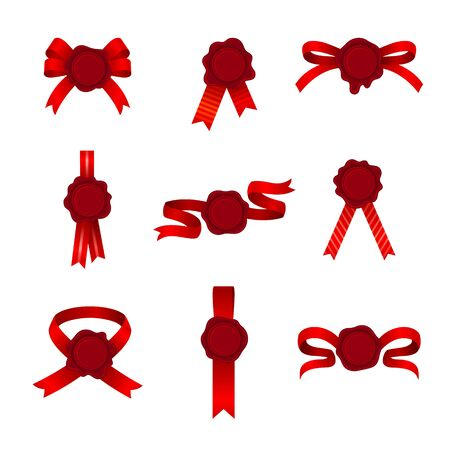 Set Of Btright Red Baws, Ribbons And Cockades Or Rosettes Of Different Shapes Vector Illustrations 일러스트