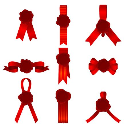 Set Of Nine Vector Illustrations Of Red Bows And Ribbons With Cockades Or Rosettes Inside 일러스트