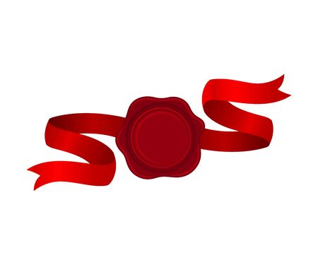 Flattering Red Ribbon With Rosette In The Center Vector Illustration 일러스트