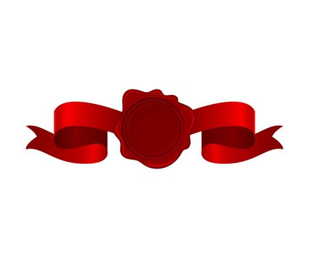 Vignette From Red Silk Ribbon With Empty Rosette In Center Vector Illustration 일러스트
