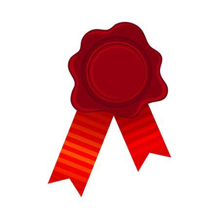 Red Empty Rosette Set On Silk Ribbons Vector Illustration Ilustração
