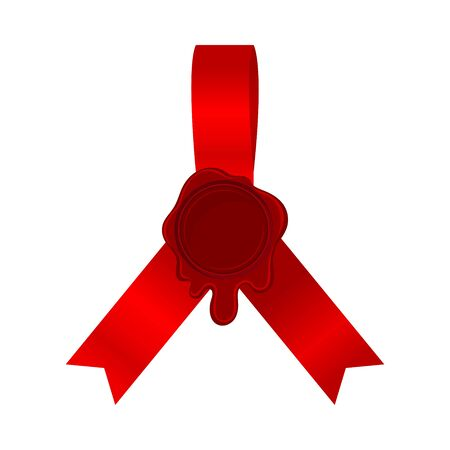 Crimson Red Silk Ribbons Originally Folded With Empty Rosette In Center Vector Illustration