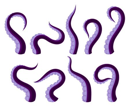Set Of Vector Illistrations Of Octopus Or Squid Tentacles Иллюстрация