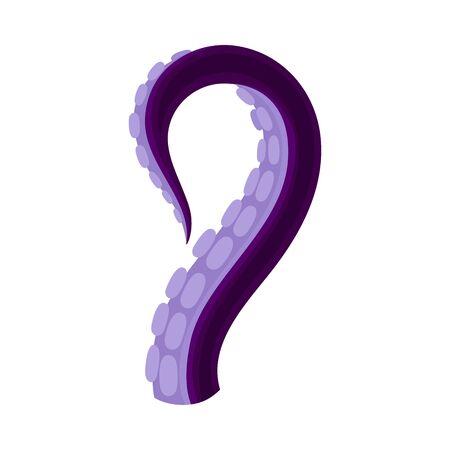 Octopus Or Squid Cut Tentacle Of Bright Violet Colors Vector Illustration Ilustração