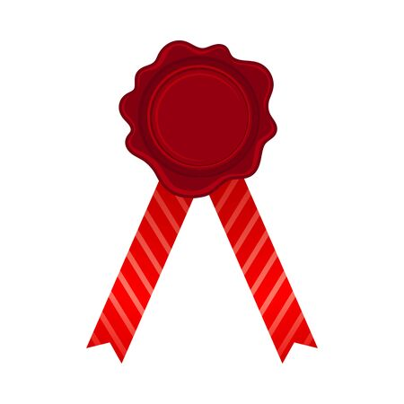 Straight Bright Red Ribbons With Empty Rosette In The Center Vector Illustration