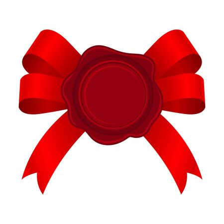 Bright Red Empty Rosette On The Bow Vector Illustration 일러스트