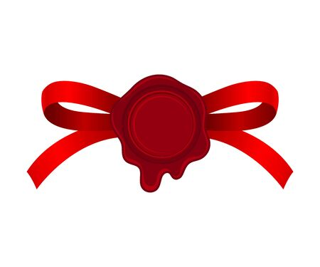 Red Bow With Empty Rosette In The Center Vector Illustration