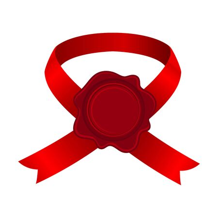 Bright Red Ribbon Badge With Rosette Vector Illustration Isolated On White Background