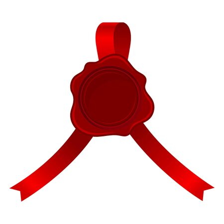 Badge From Red Ribbons Curved To Both Side With Rosette Vector Illustration 일러스트