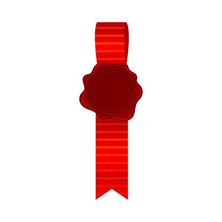 Short straight badge from bright red silk ribbon with empty rosette in the middle, with place for text. Vector illustrations, isolated on white background.