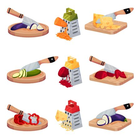 Illustration set with fresh ripe vegetables and cheese sliced on different cutting boards with a knife or rubbing on a metal graters for healthy salads, dishes. Isometric cooking concept.