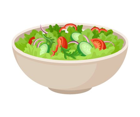 The bowl with fresh green vegetarian salad mix, tomato, cucumber, onion, ruccola, cut for pieces, with olive oil. Vegetarian food. Vector illustrations, isolated on white background.