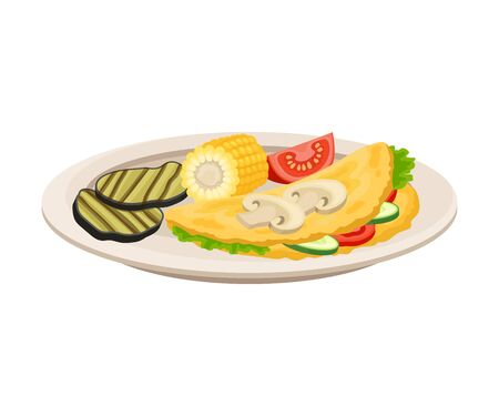 Vector Isometric Illustration Of Stuffed Omelette With Vegetables And Corn Isolated On White Background Stock Illustratie
