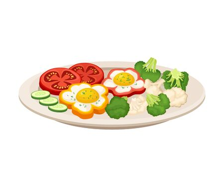Eggs fried in a rings of a sliced bell pepper served with dill, cauliflower, broccoli, sliced tomato and cucumber, vegetarian dish.