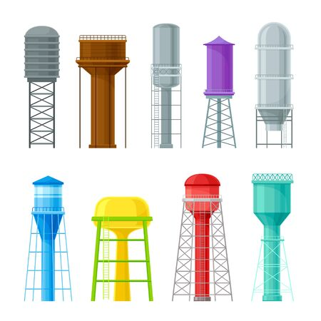 The set of pictures of water towers, storage tanks and reservoirs for reserve watery, of different colors and construction. Flat vector Illustration isolated on white background. 向量圖像