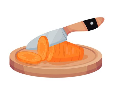 Sliced Carrot On Wooden Board With Kitchen Knife Isolated On White Background