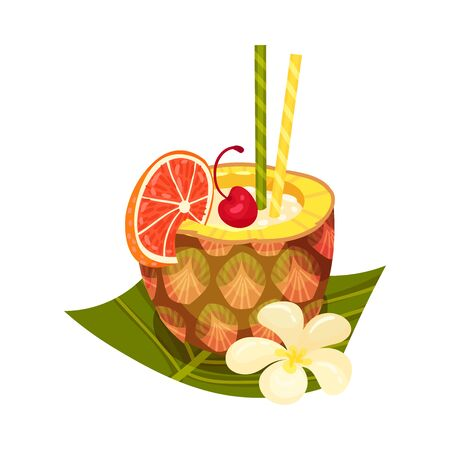 Wellness fruit smoothie in pineapple with slice of juicy orange and maraschino cherry decorated with two striped straws and vanilla flower on palm leaf isolated on white background Иллюстрация
