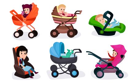 Set Of Vector Illustrations With Six Children Of Different Ages In Various Baby Carriages And Chair Ilustração