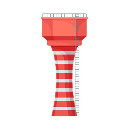 Bright red and white striped water tower for reservation, with narrow ladder from the right side and railing on the top. Flat vector Illustration isolated on white background. 向量圖像
