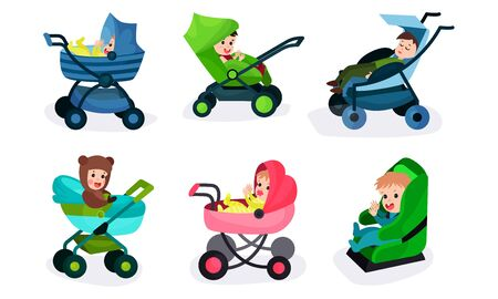 Set Of Vector Illustrations Of Six Toddlers In Different Kinds Of Baby Carriages Banco de Imagens - 131734599
